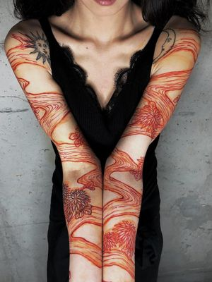 Tattoo by Haku #Haku #illustrative #neojapanese #japanese #koreanartist #japaneseinspired #flowers #lake #river #nature