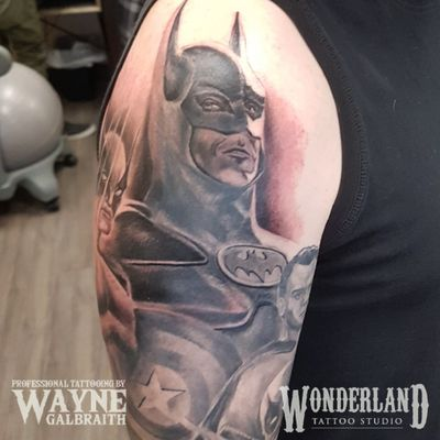 Had a blast putting on some work on this superhero piece! Been dying to post pics of this one for months now but I wanted to have some finished sections first. #batman #batmantattoo #superman #supermantattoo #deadpool #deadpooltattoo #marvel #dc #dccomics @cantcontainthewayne www.wonderlandstudioskw.com