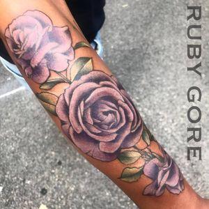Tattoo by Ruby Gore | Philadelphia, PA http://www.therubygore.com #vegantattoos #lady-tattooers #rubygore #botanicaltattoo #flowers #flowertattoos #vegan #vegantattoo #veganink #ladytattooers #tattoo #tattoos #flowertattoo #floraltattoo #planttattoo #botanicaltattoo #naturetattoo #colortattoo #colortattoos #neotraditionaltattoo #neotraditionaltattoos #peonytattoo #rosetattoo #phillytattoo #phillyink #newjerseytattoo #delawaretattoo #newyorktattoo #purpleroses #purplerose #rosetattoo