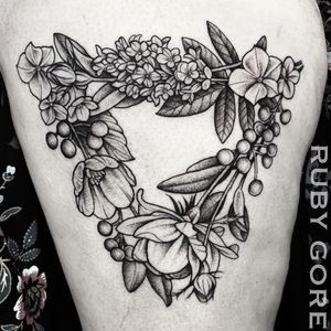 Tattoo by Ruby Gore | Philadelphia, PA http://www.therubygore.com #vegantattoos #lady-tattooers #rubygore #botanicaltattoo #flowers #flowertattoos #vegan #vegantattoo #veganink #ladytattooers #tattoo #tattoos #flowertattoo #floraltattoo #planttattoo #botanicaltattoo #naturetattoo #colortattoo #colortattoos #neotraditionaltattoo #neotraditionaltattoos #peonytattoo #rosetattoo #phillytattoo #phillyink #newjerseytattoo #delawaretattoo #newyorktattoo #witchytattoo #macabretattoo #witchyflowers #halloween #spooky
