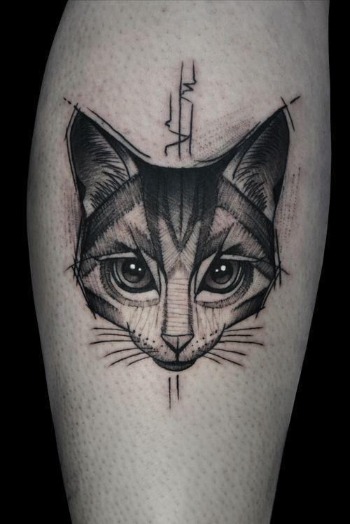 #cat #cattattoo #sketch #dotwork