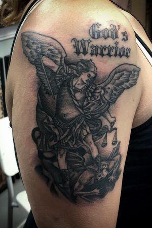#tattooartist #tattooer #blackandgrey #Tattoodo #memorialtattoo #stmichael