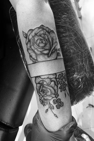Rose tattoo on arm, part one of a sleeve #roses #flowers #blackandgray #lines #blackwork #armtattoo