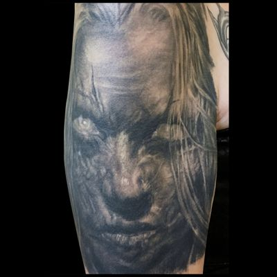 Zombie Portrait Tattoo #horrortattoo #blackandgrey #realistic #healedtattoo #DarkArt #zombie