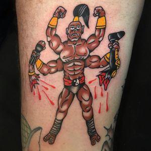 Tattoo by Rukus #Rukus #SurrealTraditionalTattoos #Traditionaltattoos #surrealtattoos #surrealism #oldschool #AmericanTraditional #mortalcombat #goro #videogame #yinyang #blood