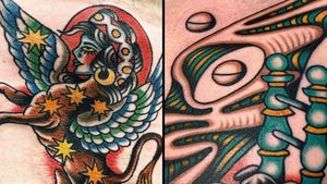 Tattoo on the left by Robert Ryan and tattoo on the right by Nick Melody #NickMelody #RobertRyan #SurrealTraditionalTattoos #Traditionaltattoos #surrealtattoos #surrealism #oldschool #AmericanTraditional
