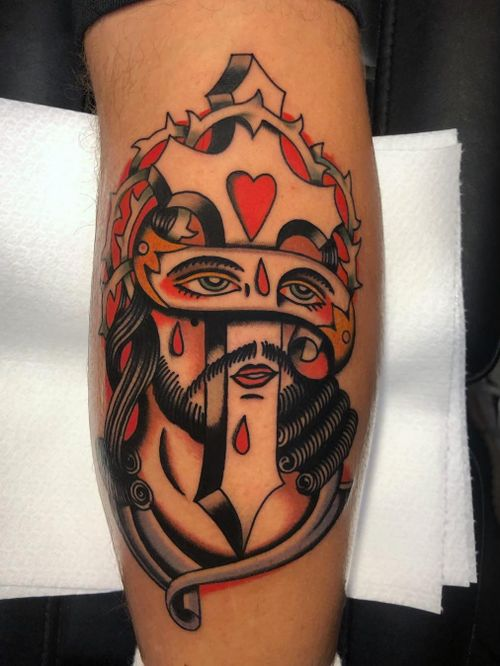 Tattoo by Bob Geerts #BobGeerts #SurrealTraditionalTattoos #Traditionaltattoos #surrealtattoos #surrealism #oldschool #AmericanTraditional #jesus #cross #heart #blood #crownofthrones #banner #jesuschrist