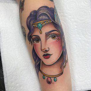 Tattoo by Alice SB #AliceSb #color #traditional #newschool #neotraditional #mashup #bold #bright #ladyhead #lady #mermaid #jewel #ornamental #crown #pearls