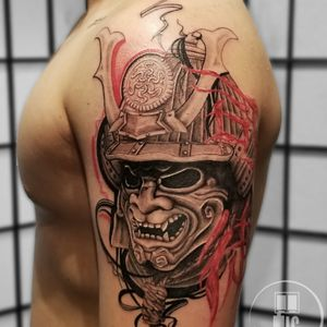 Custom Samurai Tattoo #samurai #samuraitattoo #trashpolka #blackandgreytattoo #blackandgrey #redandblack #realism #Fine-line #bigtattoos #Japanesetattoo #Japanese #asiantattoos #Tattooists #Tattooer