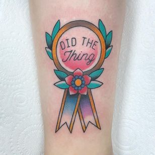 Tattoo by Alice SB #AliceSb #color #traditional #newschool #neotraditional #mashup #bold #bright #flower #floral #medal #ribbon #mentalhealthawareness