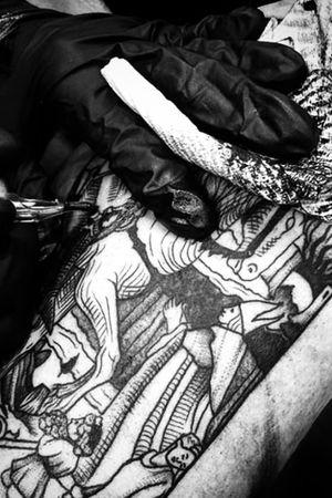 Close up on Josh's Tarot Card tattoo! #tattoo #horrortattoo #blackwork #blackworktattoos #dark #linework #nztattoo #tattooartist