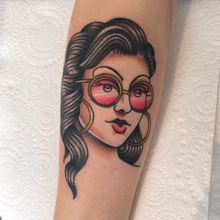 Tattoo by Alice SB #AliceSb #color #traditional #newschool #neotraditional #mashup #bold #bright #lady #ladyhead #babe