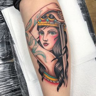 Tattoo by Alice SB #AliceSb #color #traditional #newschool #neotraditional #mashup #bold #bright #lady #ladyhead #warrior #tattooedtattoo #sword #snake