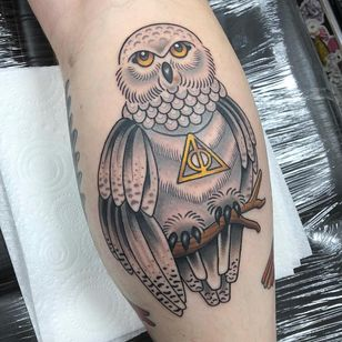 Tattoo by Alice SB #AliceSb #color #traditional #newschool #neotraditional #mashup #bold #bright #harrypotter #hedwig #deathlyhallows #symbol #owl #cute #feathers #wings