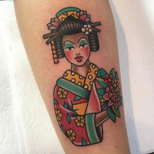 Tattoo by Alice SB #AliceSb #color #traditional #newschool #neotraditional #mashup #bold #bright #geisha #flowers #floral #lady #portrait #Japanese