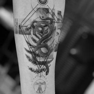 Tattoo by Ali Anil Ercel #AliAnilErcel #illustrative #snake #leaves #blackandgrey #sacredgeometry #geometric #tipping #tipyourartist #tippingmakesithurtless #tippingisappreciated
