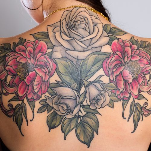 Floral shoulders, roses, peonies, lilies photo by Klover