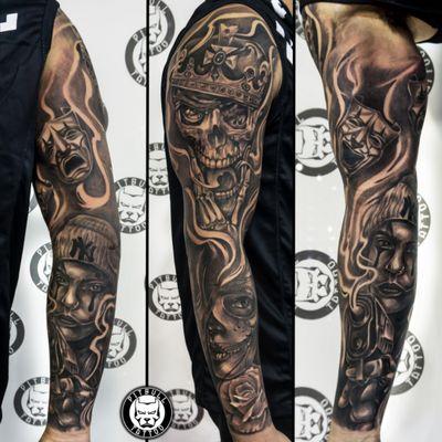 Chicano Gangsta Full arm sleeve Tattoo. Black & Grey Style. Made by Joe #ChicanoGirl #chicanostyle #gangster #skulls #skulltattoo #blackandgrey #blackandgreytattoo #realistic #realism #sleeve #sleevetattoo