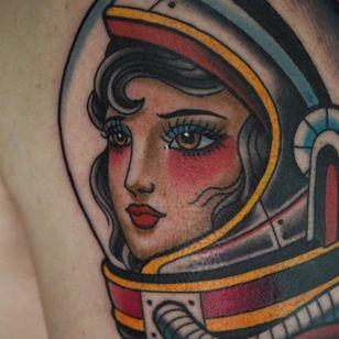 Tattoo by Big Matt #BigMatt #color #traditional #ladyhead #lady #oldschool #astronaut #space #tipping #tipyourartist #tippingmakesithurtless #tippingisappreciated