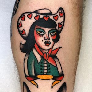 Tattoo by Jason Ochoa #JasonOchoa #traditional #oldschool #color #hearts #ladyhead #lady #cowgirl #tipping #tipyourartist #tippingmakesithurtless #tippingisappreciated