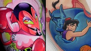 Tattoo on the left by Steven Compton and tattoo on the right by Steve Chater #SteveChater #StevenCompton #cartoontattoos #cartoon #90s #newschool #tvshow