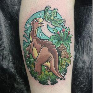 Tattoo by Luke Thompson #LukeThompson #cartoontattoos #cartoon #90s #newschool #tvshow #littlefoot #star #dinosaur #thelandbeforetime