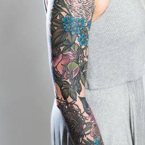 Floral, nest, and owl sleeve photo by Klover