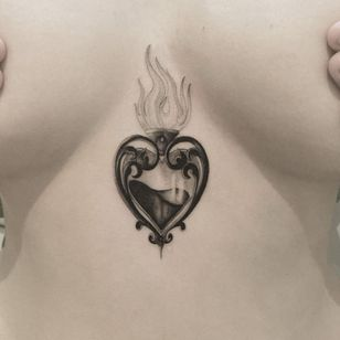 Tattoo by The Hanged #TheHanged #heart #sacredheart #blackandgrey #fire #glass #love #tipping #tipyourartist #tippingmakesithurtless #tippingisappreciated