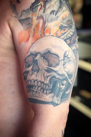 100% healed picture of a skull i did on Pierrot. #skull #skulltattoo #healed #realism #realistic #blackandgray #bng #realistictattoo #wallsandskin #amsterdam #rotterdam