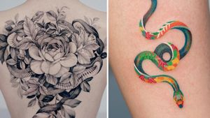 Tattoo on the left by Zihwa and tattoo on the right by Zihee #Zihwa #Zihee #snaketattoo #snake #reptile #animal #nature