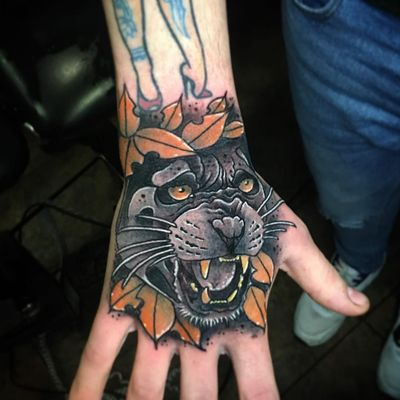 Tattoo by Antonio Bianco Blank #AntonioBiancoBlank #Londontattoo #London #Londontattooartist #londontattoostudio #UK #cat #panther #neotraditional