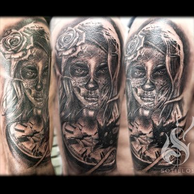 Catrina with pocketwatch, a little cover up on the black explosion. #catrina #pocketwatch #realism #black and grey