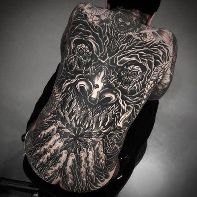 Tattoo by Rafel Delalande #RafelDelalande #Londontattoo #London #Londontattooartist #londontattoostudio #UK #darkart #blackwork #demon #monster #death #skeleton #skull #devil