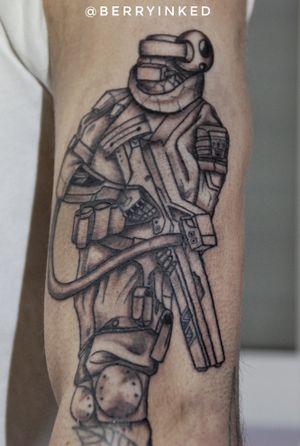 Cyberpunk warrior #cyberpunk #blackandgrey #tat #soldier #warrior