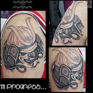 A Japanese mask to represent bravery and loyalty... In progress... #tattoo #tatuaje #tatouage #japanesemasktattoo #tatuajemascarajaponesa #tatouagemasquejaponais #japanesetattoo #tatuajejaponés #tatouagejaponais #japanesemask #mascarajaponesa #masquejaponais #tattooferneyvoltaire #tattoodo #tattoolover #tattoolovers #ferneyvoltaire
