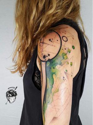 Tattoo by Santa Perpetua #SantaPerpetua #Londontattoo #London #Londontattooartist #londontattoostudio #UK #watercolor #dotwork #geometric #sacredgeometry