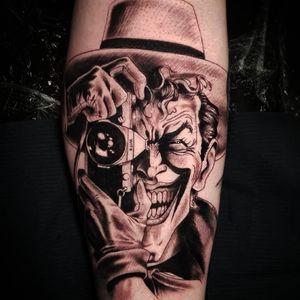Joker tattoo realistic black and grey #blackandgrey #JokerTattoos #Joker #realistic #realism #batmanjoker #comictattoo #tattooofday