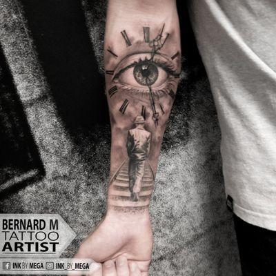 Walking Away. #realism #realistic #eye #eyetattoo #clocktattoo #clock #ink #watch #realistictattoo #bernardmarusic