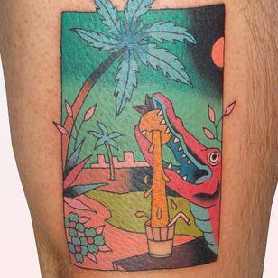 Tattoo by Brindi #Brindi #treetattoos #trees #tree #nature #wood #outdoors #land #earth #palmtree #aligator #orange #flower #floral #orangejuice #surreal #funny