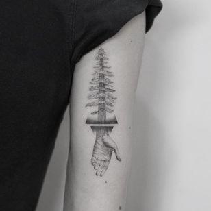 Tattoo by Evgenii Andriu #EvgeniiAndriu #treetattoos #trees #tree #nature #wood #outdoors #land #earth #illustrative #blackandgrey #hand