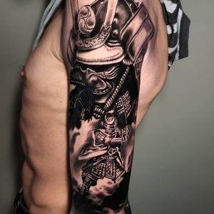 Realistic samurai tattoo #blackandgreytattoo #blackandgrey #realistic #realism #realistictattoo #blackandgraytattoos #tattoo #blackandgraytattoo #blackandgraytattoos #samuraitattoo