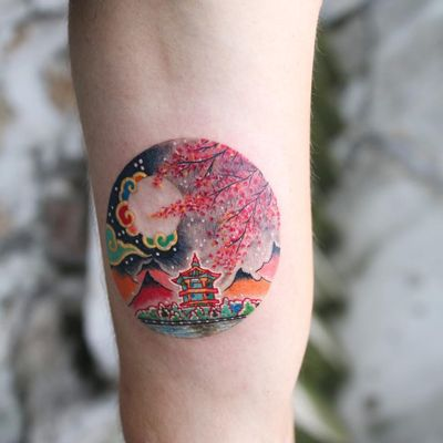 Tattoo by Pitta KkM #Pittakkm #Pitta #treetattoos #trees #tree #nature #wood #outdoors #land #earth #color #cherryblossoms #shrine #pagoda #clouds #mountains #landscape
