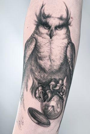 Owl #owl #clock #graphic #bird #inktourist