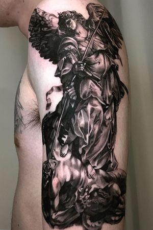 Archangelus black and gray realism chicano blackwork korean