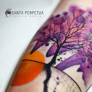 Tattoo by Santa Perpetua #SantaPerpetua #treetattoos #trees #tree #nature #wood #outdoors #land #earth #watercolor #illustrative