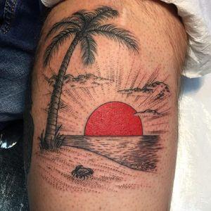Tattoo by Craig Ridley #CraigRidley #treetattoos #trees #tree #nature #wood #outdoors #land #earth #palmtree #sun #beach #crab #illustrative