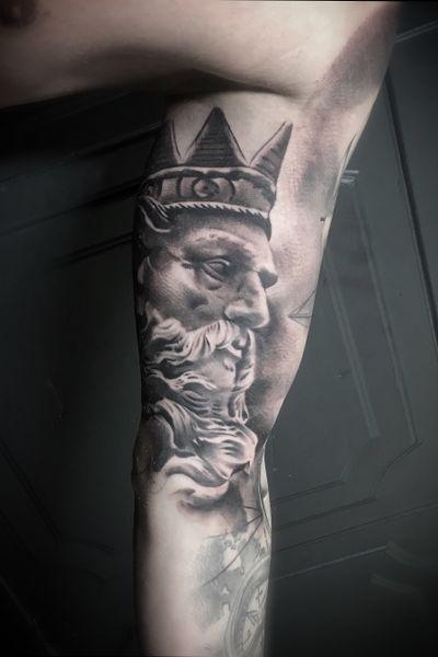 #ink #inkfectedtattooslv #tattoo #tattoos #riga #latvia #rigatattoo #tattooedlatvians #blackandgrey #realistictattoo #sculpture #statue #mythology #poseidon #sea #god #godofsea #tatts #tattooed #tattedup #inked #inkedup #inkedlife #inkaddict #tattooartist