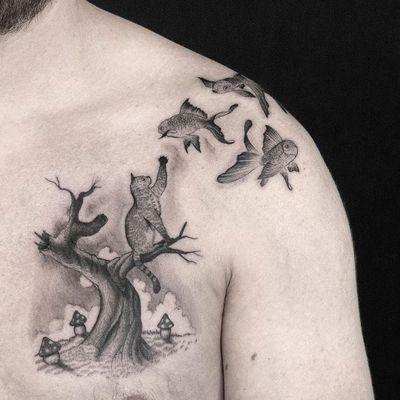 Tattoo by Sven Rayen #SvenRayen #treetattoos #trees #tree #nature #wood #outdoors #land #earth #illustrative #mushroom #cat #kitty #goldfish #fish #surreal