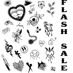 Flash sale! All designs $100 except sexy heart bum, that's $150 come get tattooed!