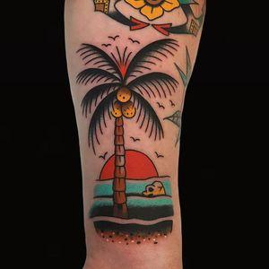 Tattoo by Alex Zampirri #AlexZampirri #AZamp #treetattoos #trees #tree #nature #wood #outdoors #land #earth #palmtree #beach #landscape #skull